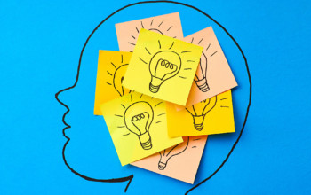 Sticky notes with light bulbs on head, illustration.